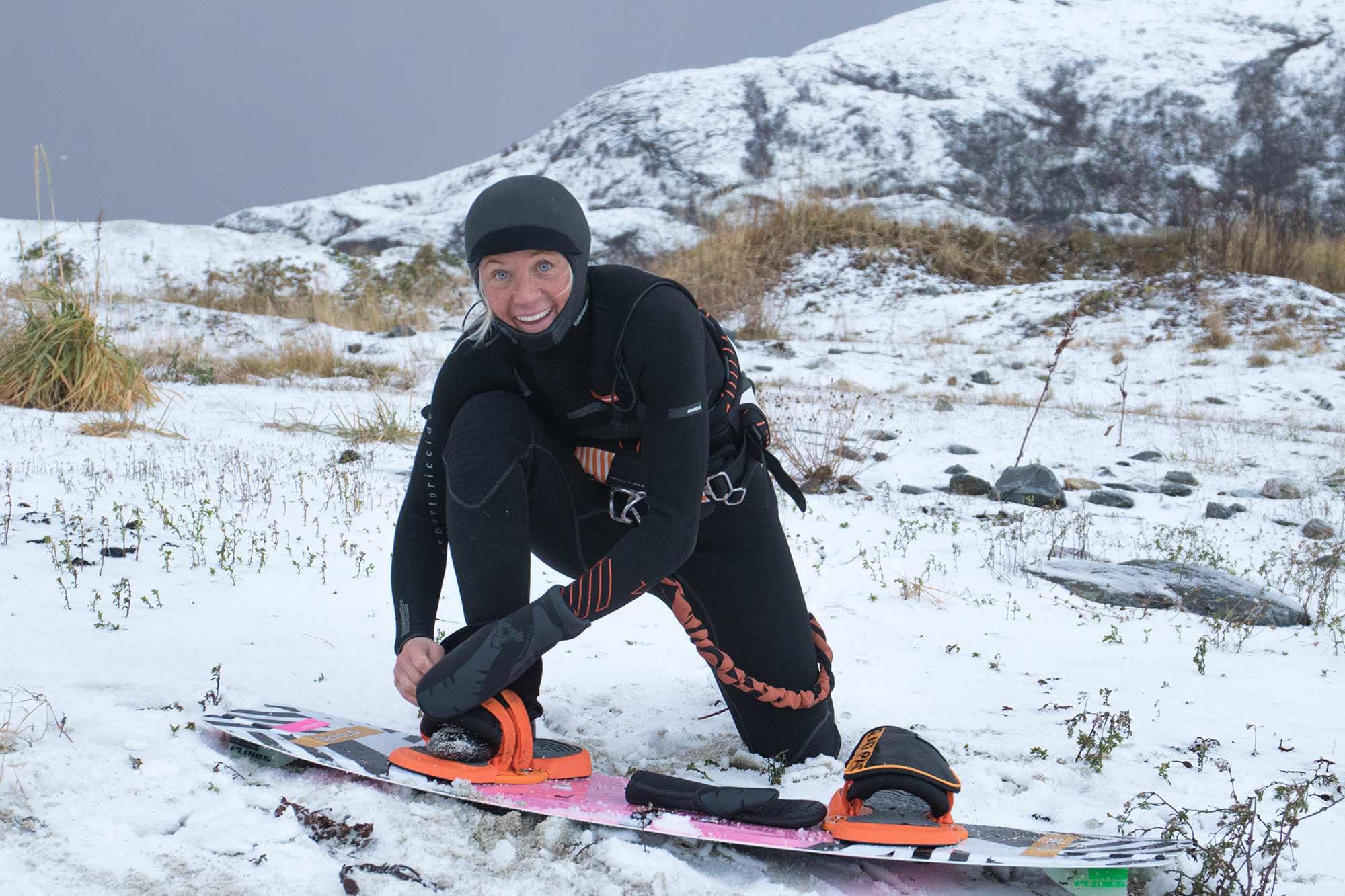 Kari Schibevaag beim Snowkiten