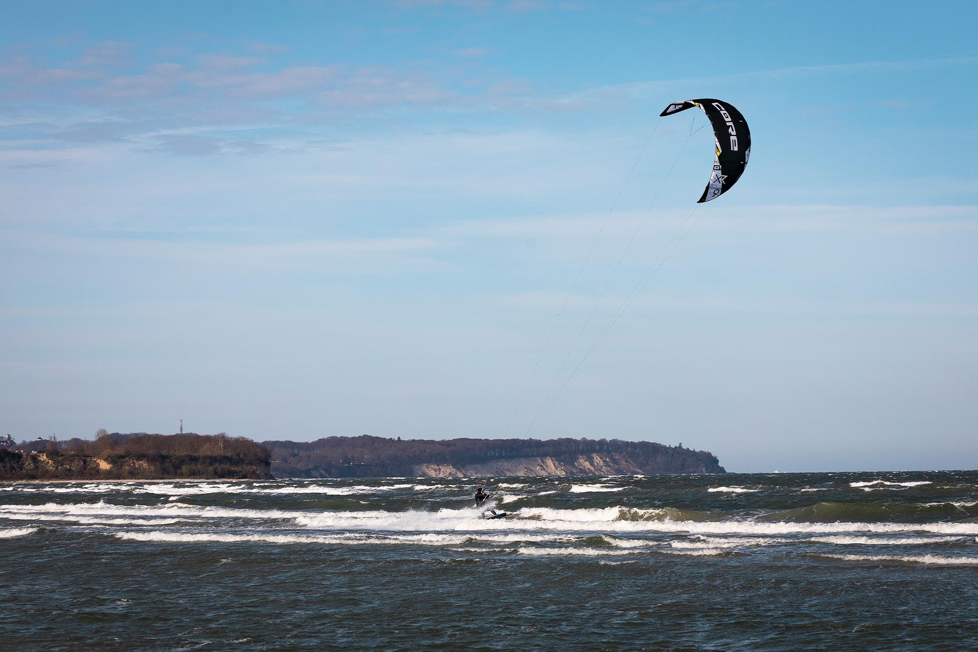 Kiten auf Rügen am Spot Garger