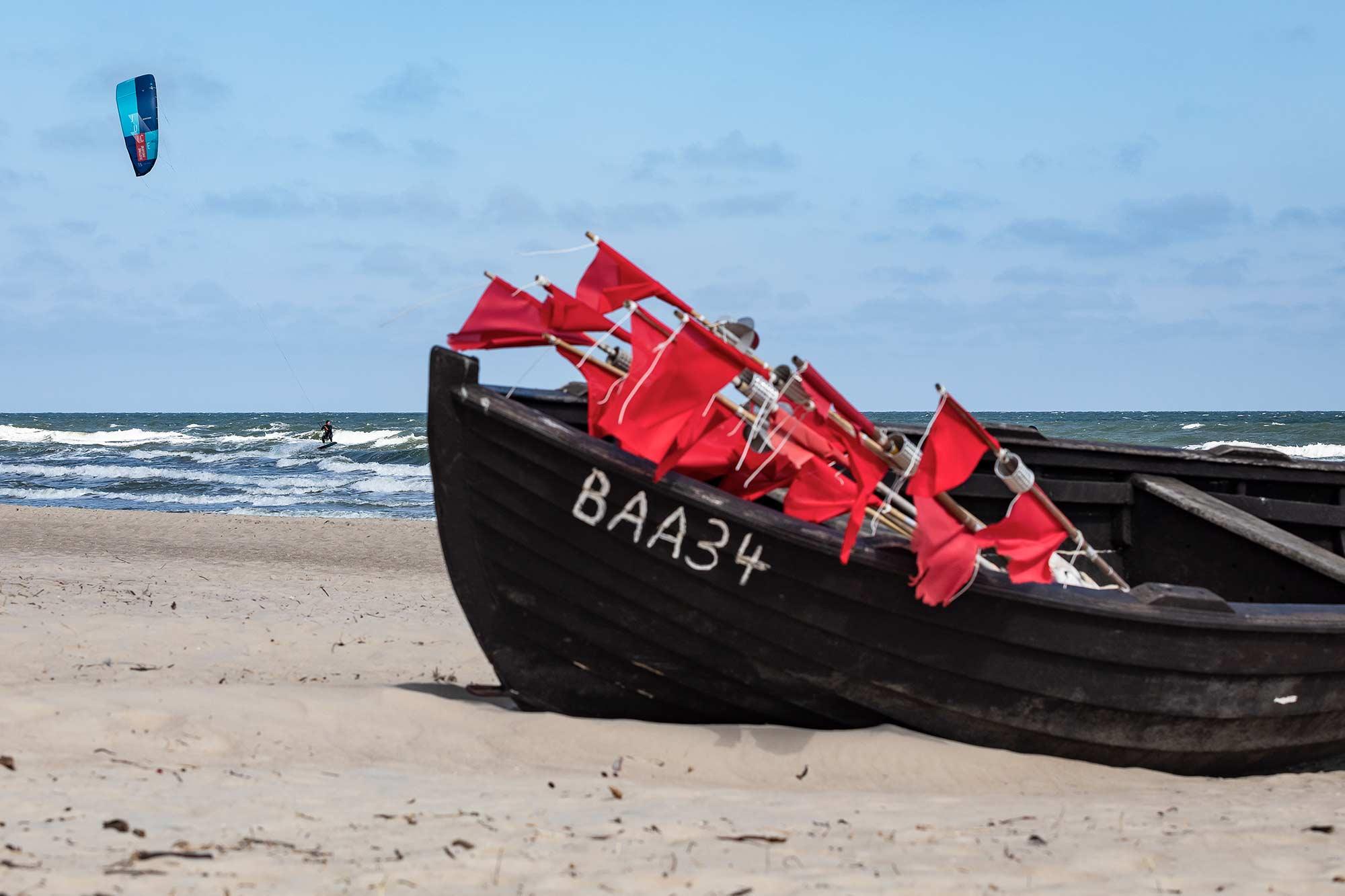Kiten auf Rügen am Spot Baabe