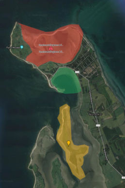Verbotszonen für Kiter am Spot Fyns Hoved
