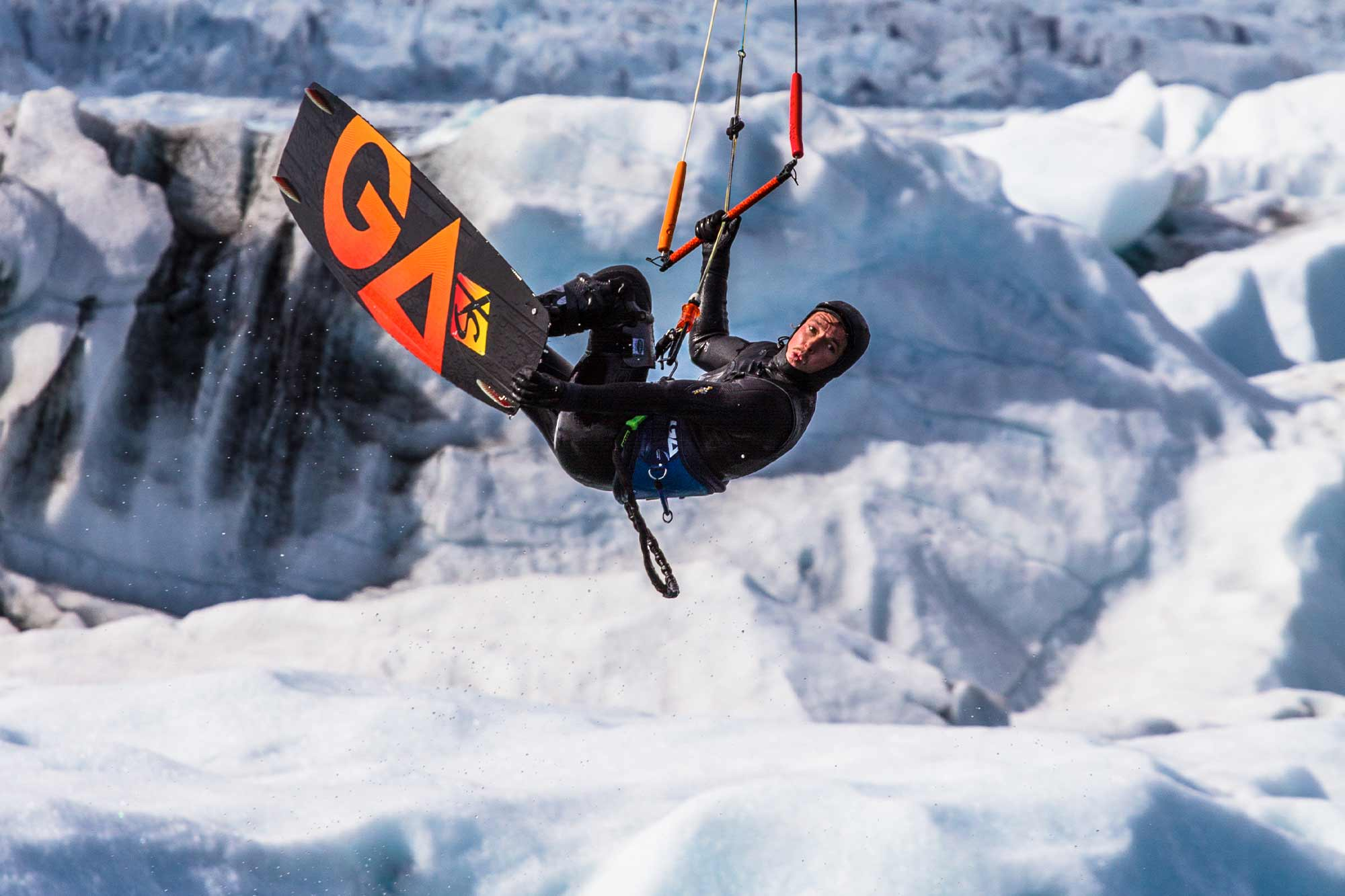 Mario Rotwild beim Kiten im Winter