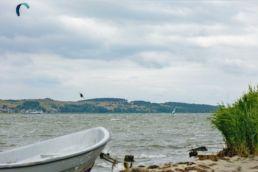 Blick auf den Kitespott Middelhagen auf Rügen